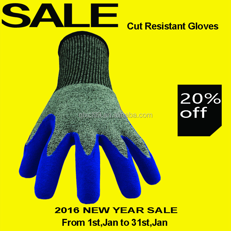 QL En388 4543 finger protection cut resistant gloves level 3