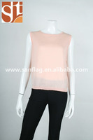 Ladies round neck sleeveless vest pullover plain knitted sweater