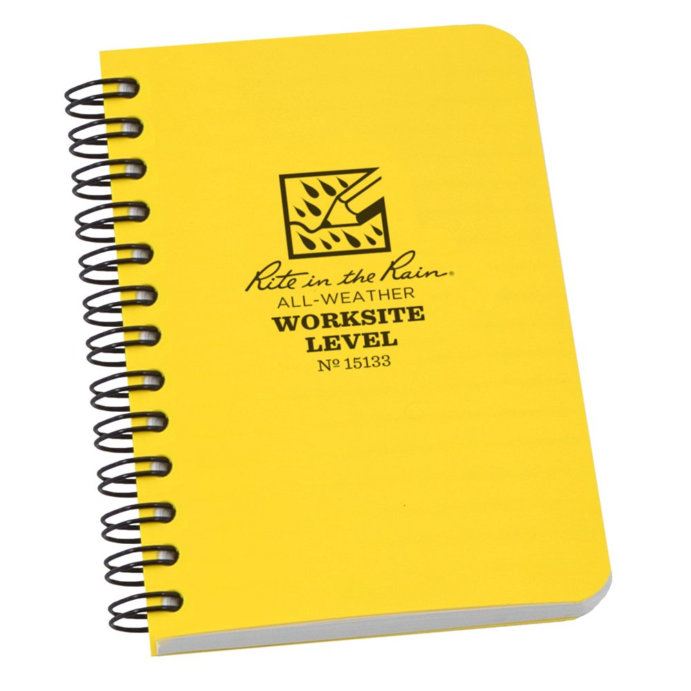"""Rite in the Rain All-Weather Worksite Side-Spiral Notebook, 3 1/2"""" x 5"""" Yellow Cover, Worksite Level Pattern (No. 15133)"""