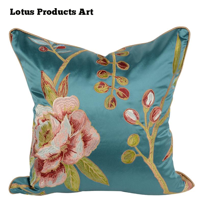 Machine Embroidery Designs Cushion Cover Silk Blue Flower Cushion