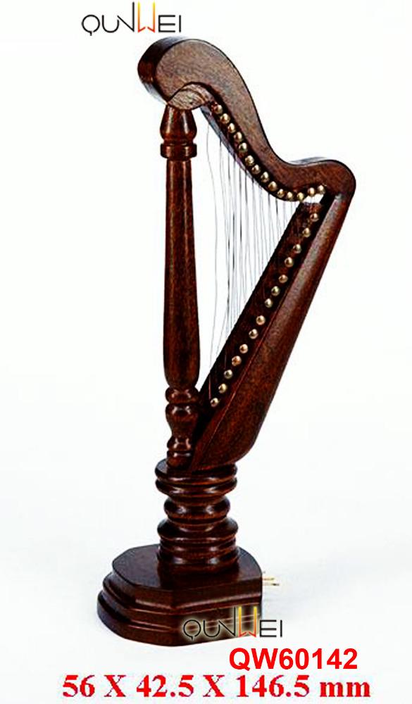 Maison de poupées noyer en bois Harpe miniature Music Room instrument échelle 1:12
