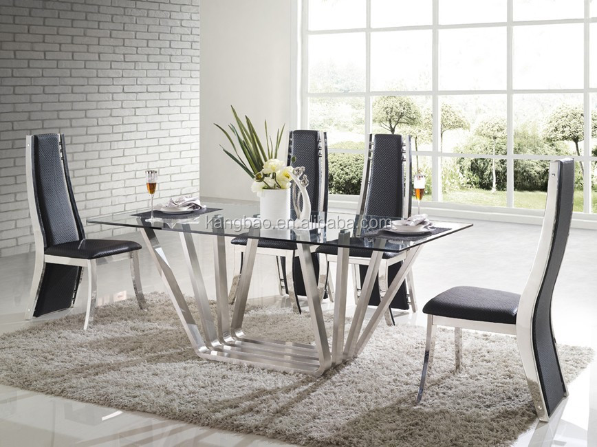 2016 kangbao de cristal muebles acero inoxidable mesas de - Mesas de comedor modernas de cristal ...