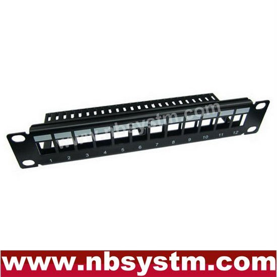 "12 port UTP Blank Patch Panel with back bar 10"" 1U,available for Cat5e or Cat6 Keystone Jacks"