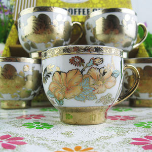 Porcelain Cup Sets For Tea Coffee 6pcs Arabic Coffee Cups With Gold Plated