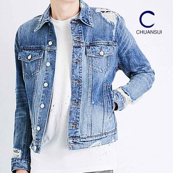 87027d1a25b4 Men Casual Wholesale Ripped Mens Distressed Denim Jean Jacket - Buy ...