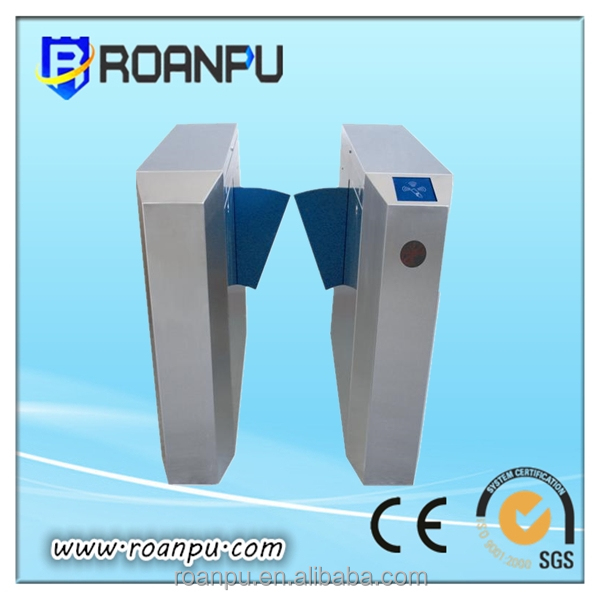 RFID 50 persons/minute steel optical turnstile barrier flaps