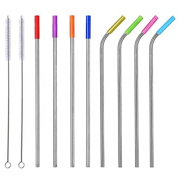 "10.5"" Long Stainless Steel Straws, Set of 8 Reusable Replacement Metal Straws with Silicone Tips and Cleaning Brush"