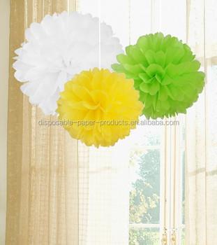 Paper Crafts Pom Poms Kids Birthday Party Decor POM Set Of White Green