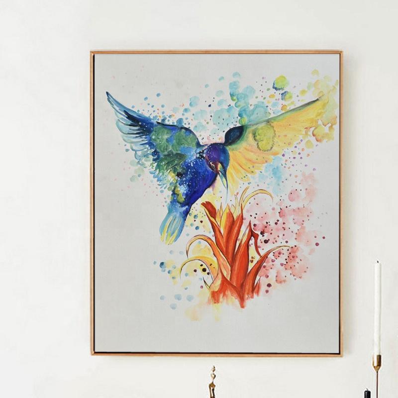 Decorative Fabric Original Simple Hand Painted Birds Painting Fine Art