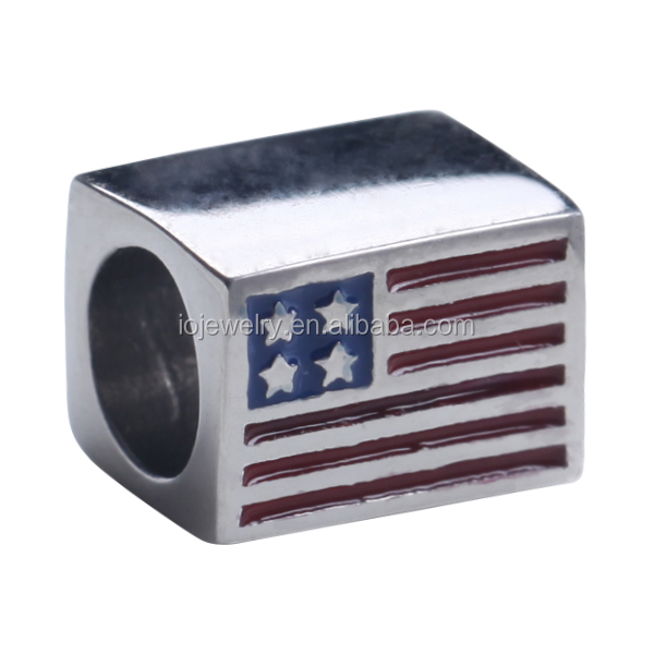 Wholesale stainless steel charm jewelry Patriotic flag USA Flag bead