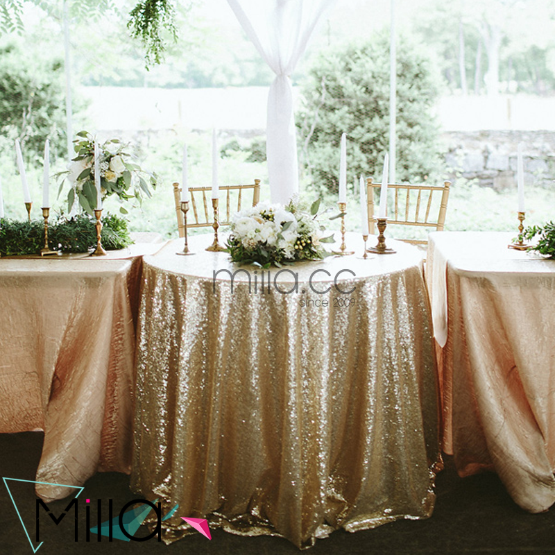 Light gold sequin embroidery tablecloth