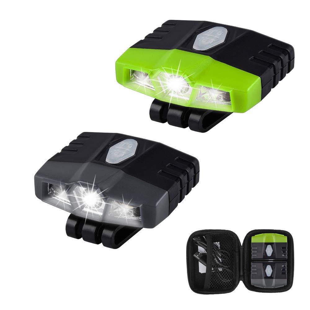 LHOTSE Portable Mini Hands Free LED Clip on Cap Light - Rechargeable 100 lumens Ultra Bright, Lightweight (0.88oz),IPX5 Waterproof Best Hat Light for Fishing Hand Work Baseball caps