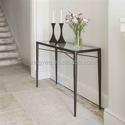 Modern Living Room Stainless Steel Painting Metal Frame Tempered Glass Long Narrow Console Table