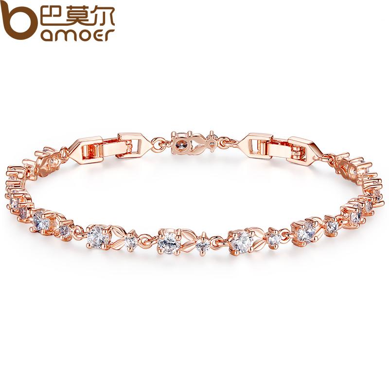 Bamoer Luxury 18k Rose Gold Plated Chain Bracelet For