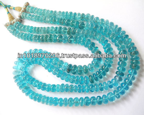 Sky Blue Apatite Roundel Smooth Beads