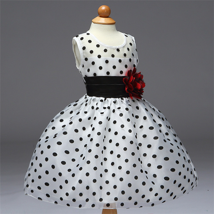 Fashion Black Little Dot Pattern Satin Frock Design for Baby Girl Party Dresses