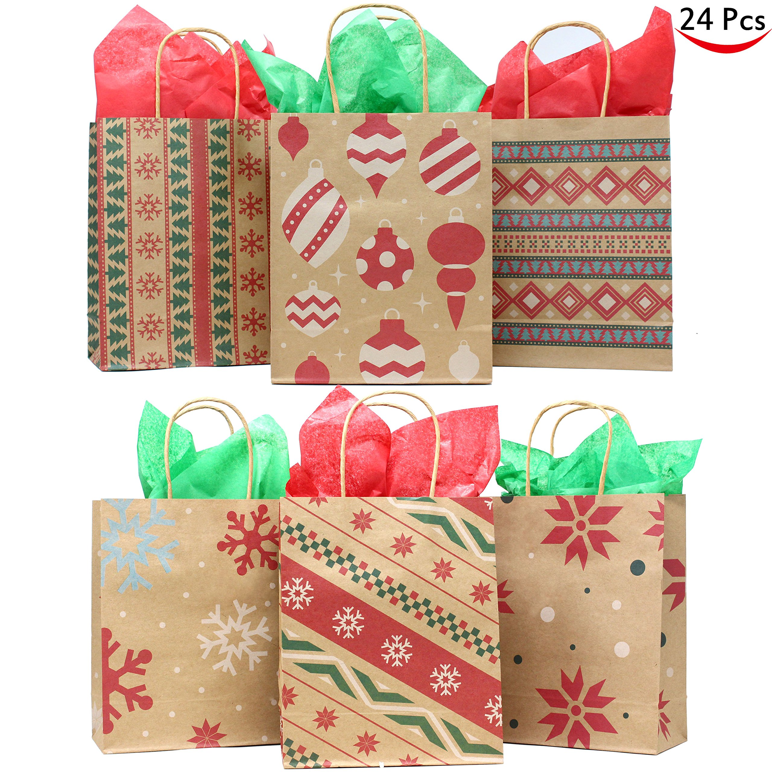 Joiedomi 24 Christmas Kraft Gift Bags with Assorted Christmas Prints for Kraft Holiday Paper Gift Bags, Christmas Goody Bags, Xmas Gift Bags, Classrooms and Party Favors by