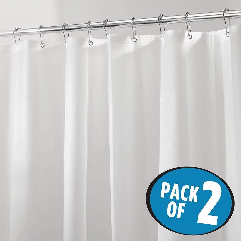 Heavy Duty Premium Quality EVA Shower Curtain Liner For Bathroom Stall And Bathtub No Odor Chlorine Free 108 X 72 Pack Of 2 White