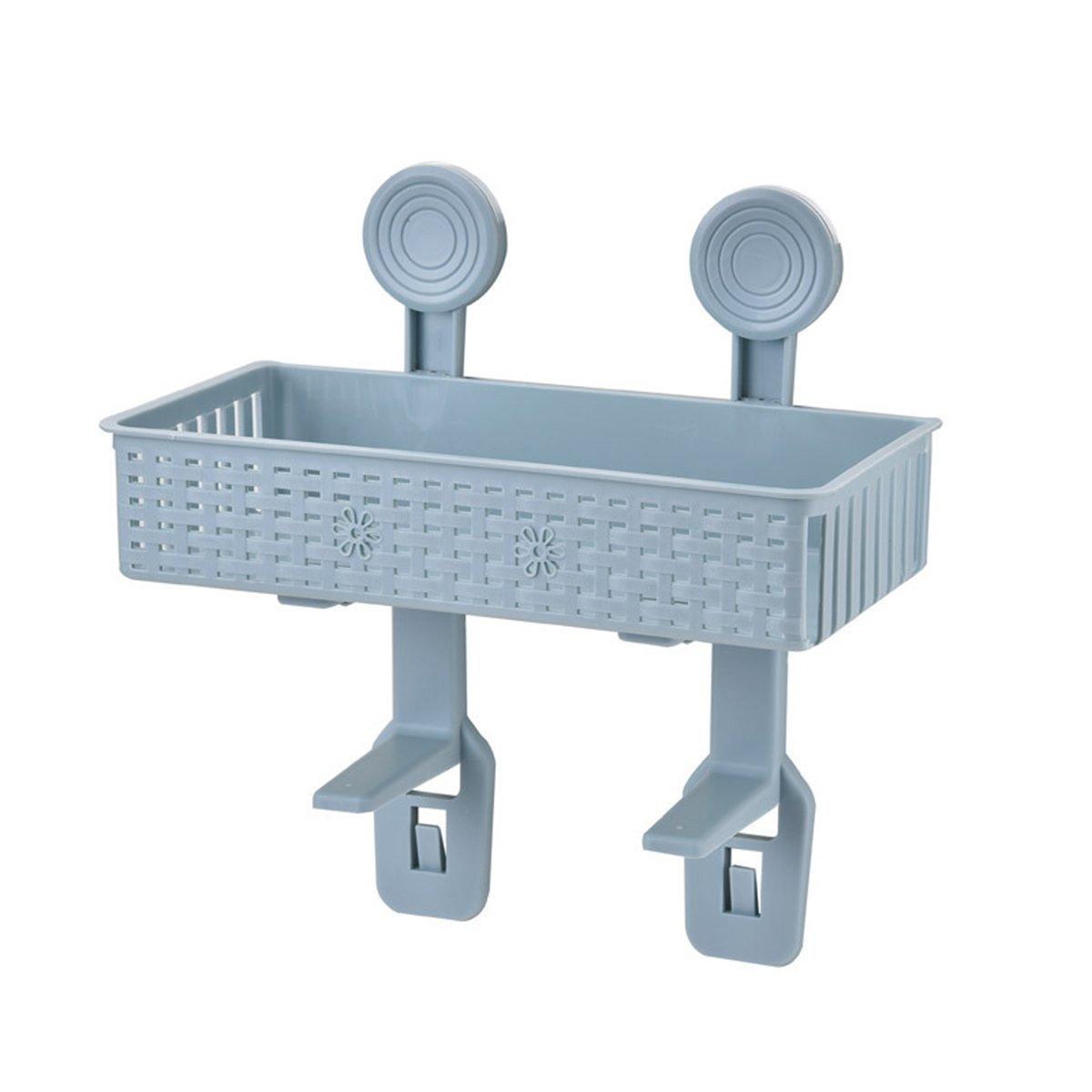 OUNONA Bathroom Basket Suction Cup Organizer Holder Wall Mounted Kitchen Toilet Shelf Storage Rack for Toilet Paper Shower Gel Shampoo (Blue)