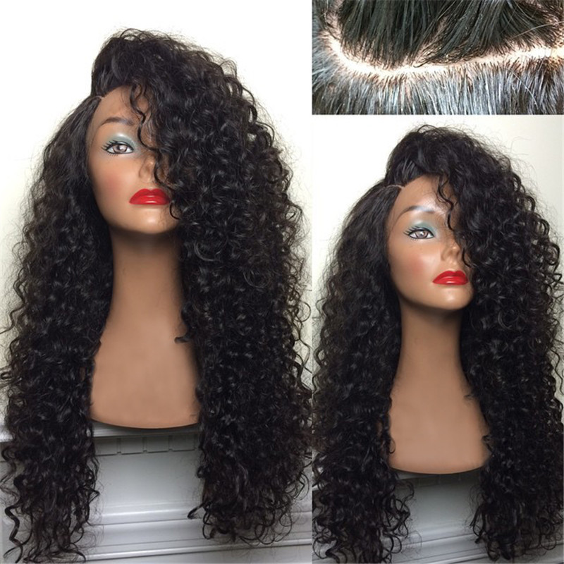 Natural hairline 7A Remy Human Hair Brazilian Kinky Curly Lace Front wig Full Lace Wigs