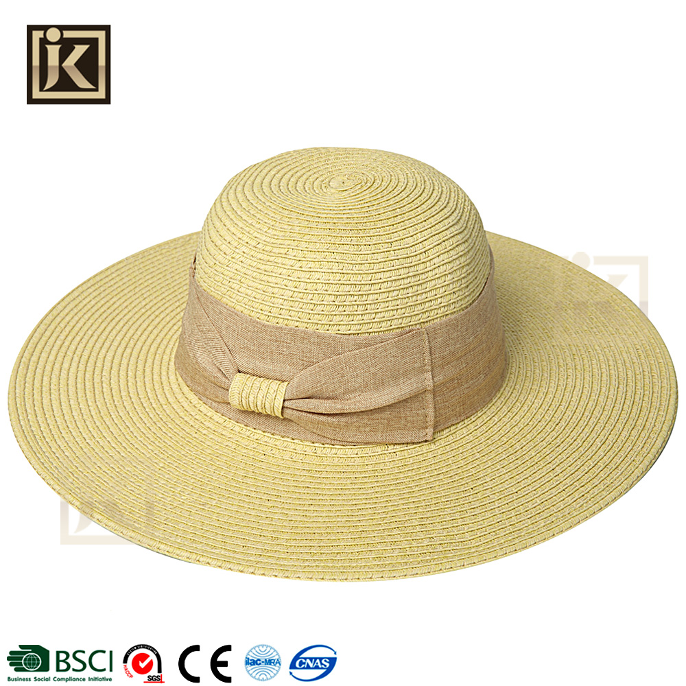 JAKIJAYI wholesale fashion women summer beach hat flat brim designer floppy hat papper straw hat