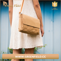 Environment friendly washable karf paper bag,popular brown paper women cross bady shoulder bag