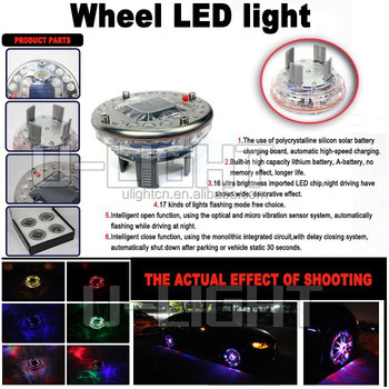 Newest Product Multicolor 12v Flash Car Led Wheel Light With Solar Battery Charging And 7 Colour