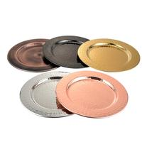 Stainless Steel Black Rose Gold Silver Hammered Charger Plates Under Plates for Wedding Deco