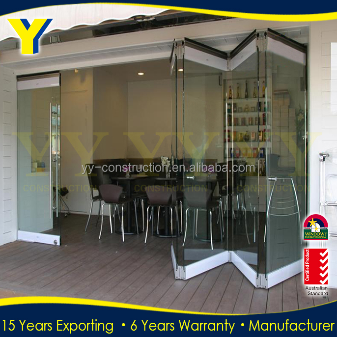 Tempered Glass Door Frameless Folding Glass Door /folding Sliding ...