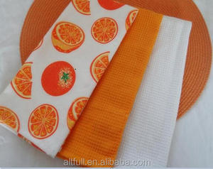 Best selling items promotion gift 100% cotton printed waffle weave kitchen dish towel with bow tie