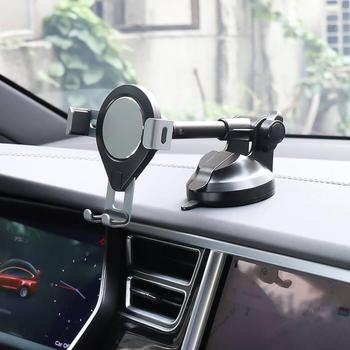 Universal Car Dashboard Aluminium Mount Stand Suction Cup Base Phone Holder for 3.6-6.5 inches Phones, for iPhone, Samsung