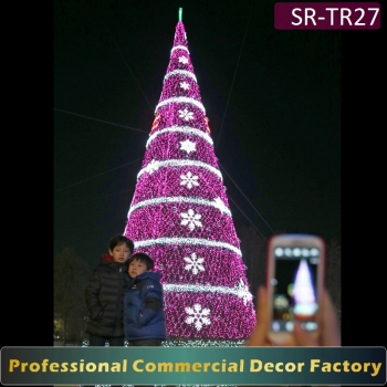 customize 20ft 30ft 40ft 50ft giant outdoor christmas tree with led snowflake for hotel