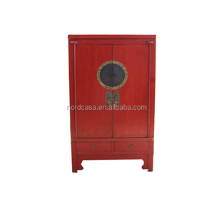 Red or Black chinese wedding tall antique cabinet in reclaimed wood with antique style chinese wardrobes of antique furniture