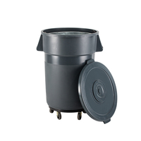 80L Big waste basket round garbage bin plastic trash can with wheel
