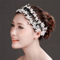 MYLOVE Pearl Beads Crystal Flower Tiara Jewelry Hair Band Clip Headband Wedding Party MLF125