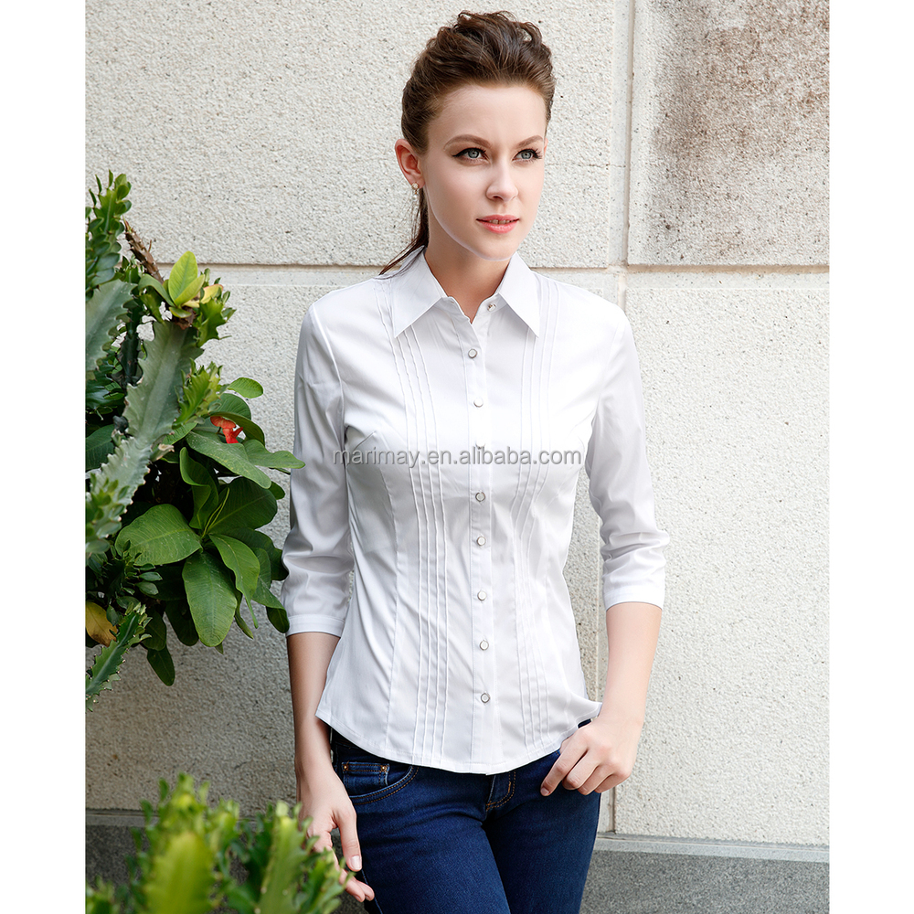 New Style Red Color Women Shirt Latest Las Office Wear Designs Fashion Lady