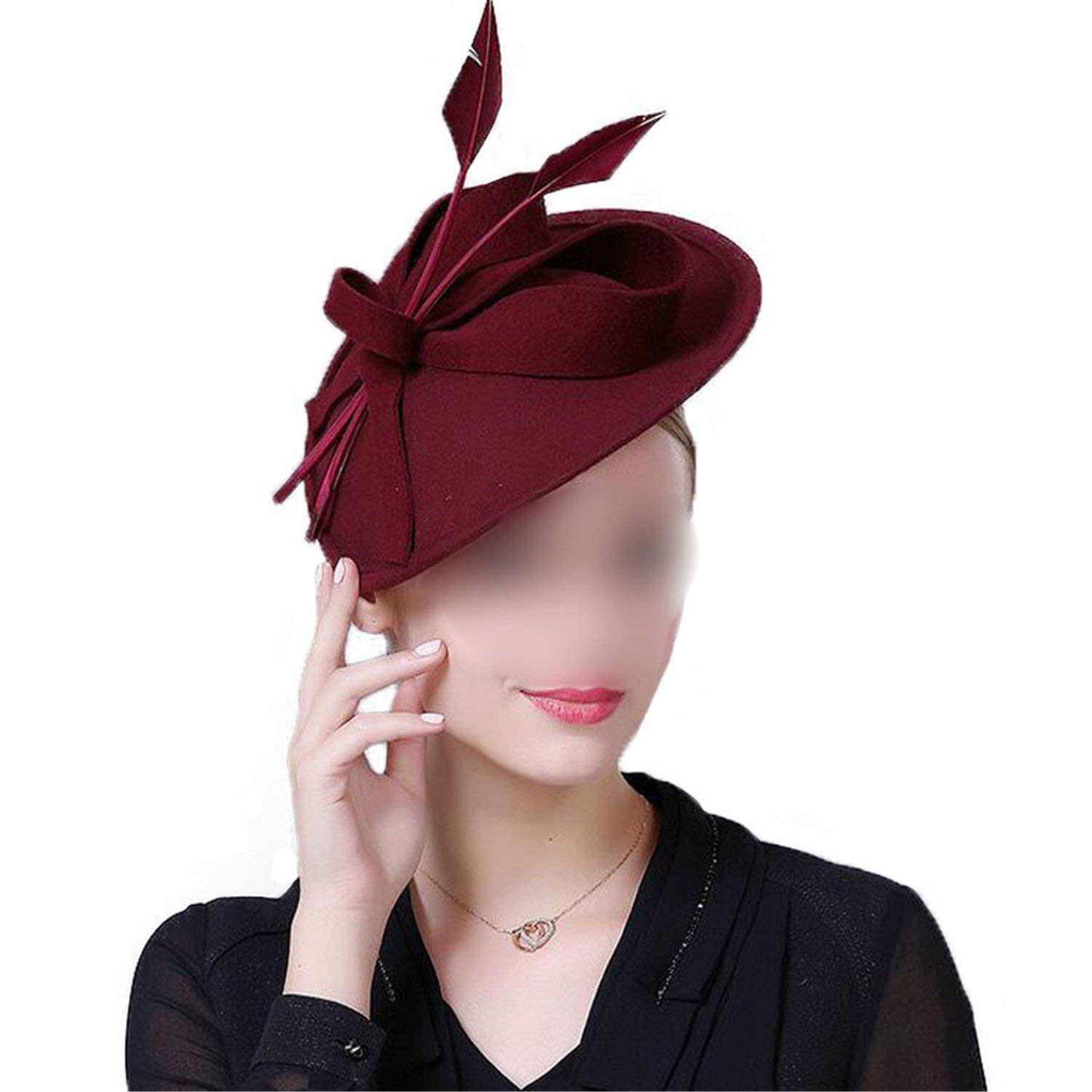 Get Quotations · Fascinators Winter Hats for Women Elegant Wool Felt  Pillbox Hat Girls Lady Formal Church Wedding Dress 41839f5dcba