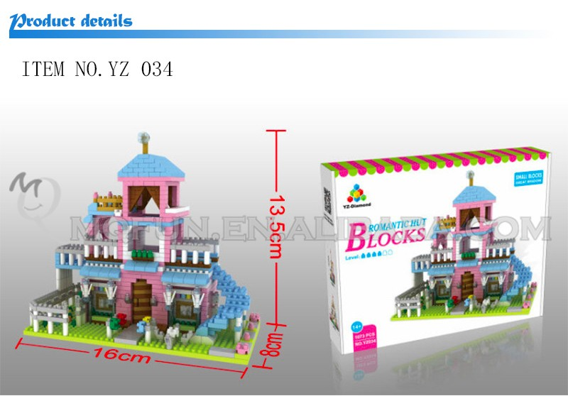 Mini Qute YZ princess castle plastic kawaii girls gift kids diamond building block educational toy