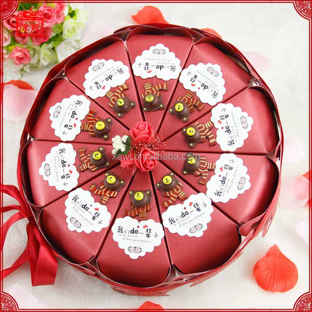 2016 New Arrival Lovely Chinese Cake Sahpe Candy Box for wedding XTH003