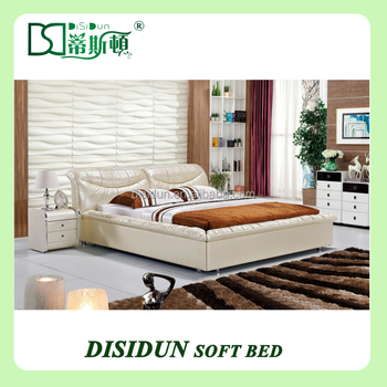 Foshan Bed Factory Beige Cow Leather Bed On Sale Home Furniture