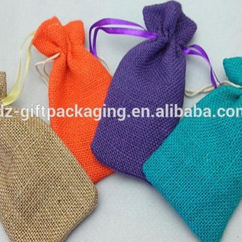 Christmas Customized Dyed Drawstring Hemp Gift Bags