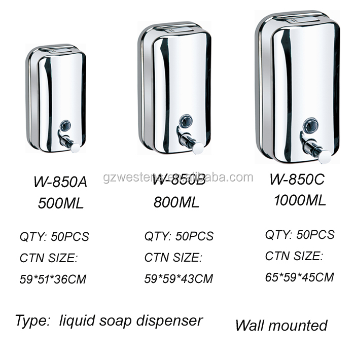 Washroom stainless steel hand liquid soap dispenser shower shampoo manual soap dispenser