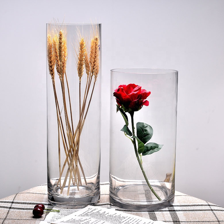 2019 wholesale Home decor cheap crystal clear tall cylinder glass vase