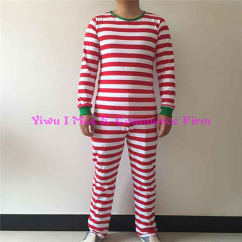 boutique matching family christmas pajamas plus size adult red stripe cotton christmas outfits im csl167