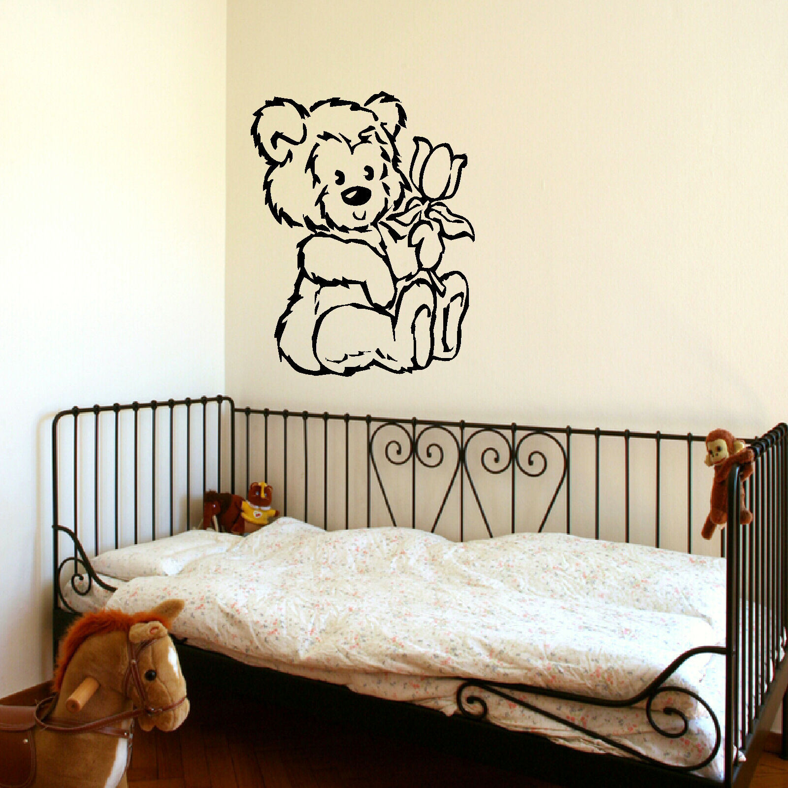 D9 LARGE NURSERY TEDDY BEAR BABY WALL ART STENCIL STICKER ...