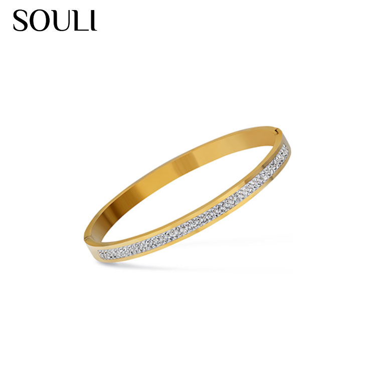 Two Row Crystal Rhinestone Stainless Steel Love Bracelets Bangles for Women