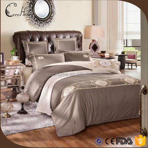 wholesale grey customize embroidered queen king size beeding sets for home/ hotel