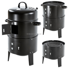 New Black Steel Outdoor Cooking BBQ Garden Charcoal Grill Barbecue Smoker
