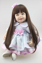 55cm Silicone vinyl reborn toddler doll toy for girl lifelike princess dolls play house toy birthday