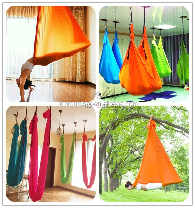 Wholesale High Strength 900KGS Capacity Stretch deluxe aerial yoga hammock(see 18 fabric colours)